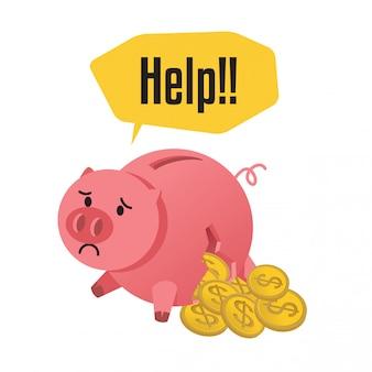 Unterbrochene sparschweinillustration