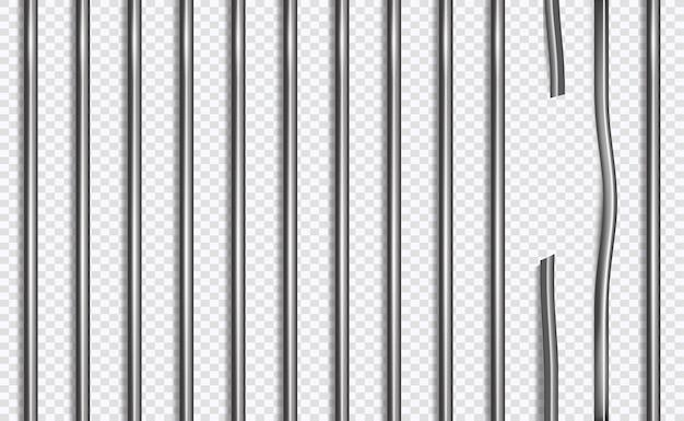 Unterbrochenes gefängnisgitter oder -stangen in der art 3d auf getrenntem hintergrund