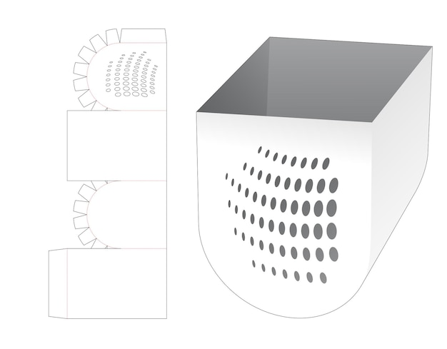 Untere runde schüssel mit gestanzten schablonenpunkten