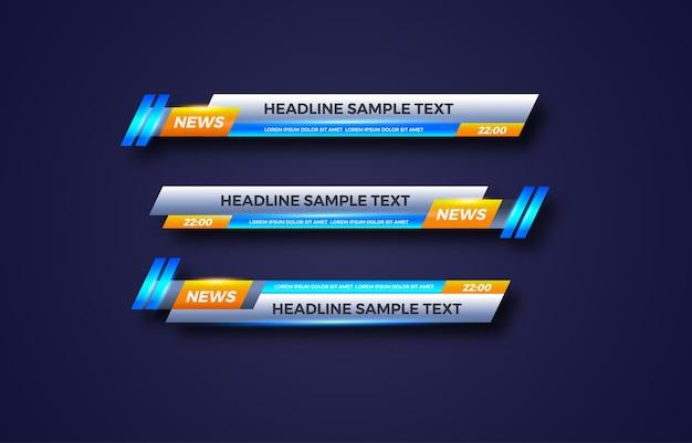 Unteres drittes banner. tv, bars, eingestellt. video streamen. aktuelle nachrichten, sportnachrichten, benutzeroberfläche, designvorlage