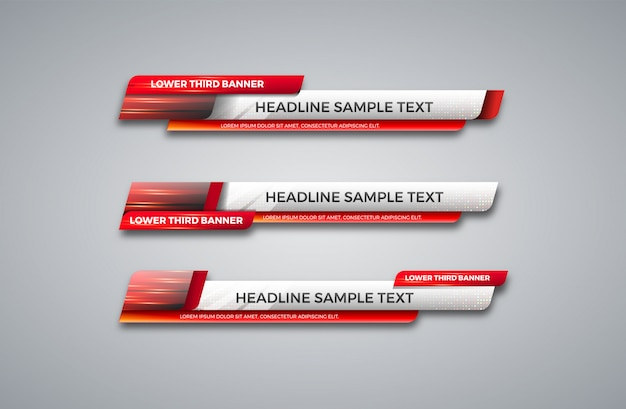 Unteres drittes banner. tv, bars, set. video streamen. aktuelle nachrichten, sportnachrichten, benutzeroberfläche, designvorlage