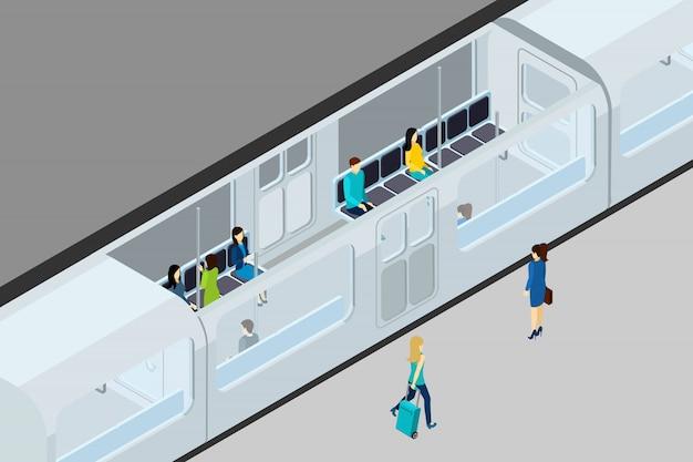 Untergrundbahn menschen und zug illustration