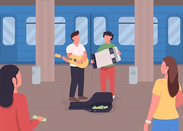 Untergrundmusik, die flache farbe spielt. geld verdienen mit deinem lieblingshobby. lieder in der nähe des zuges. straßenmusikanten 2d-zeichentrickfiguren mit transport