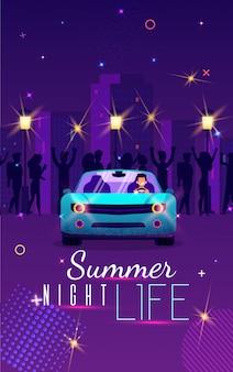 Unterhaltsames plakat-aufschrift-sommer-nachtleben