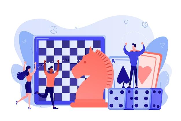 Unterhaltung von kleinen leuten, die schach, spielkarten und würfel spielen und gewinnen. brettspiel, freizeitbeschäftigung, aktivitätskonzept für die ganze familie. isolierte illustration des rosa korallenblauvektors
