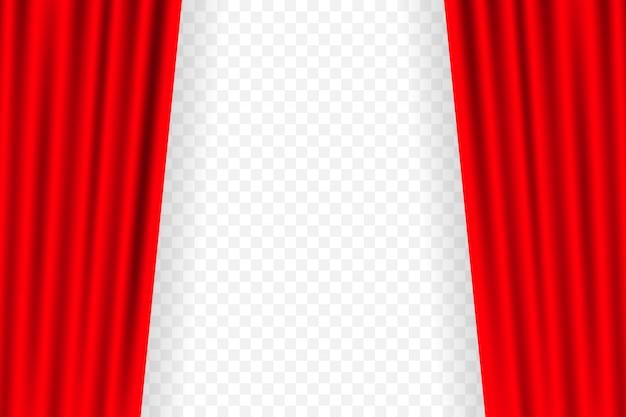 Unterhaltungsvorhänge für filme. schönes rotes theater faltete vorhangvorhänge auf schwarzem stadium. illustration.