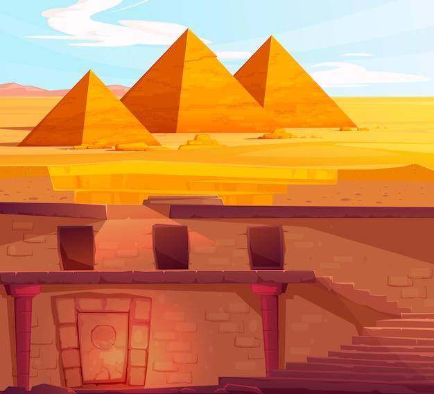 Unterirdisch verlorenes grab des alten ägypten-pharaos