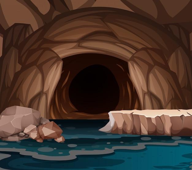 Unterirdische höhle mit see