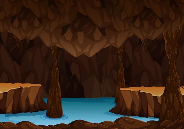 Unterirdische höhle mit wasser