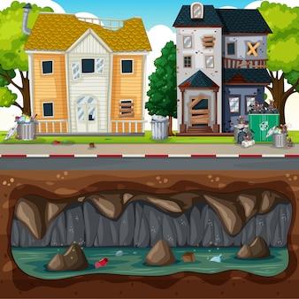Unterirdische verschmutzung in der schmutzigen nachbarschaft