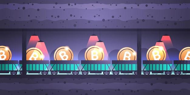Unterirdischer minenwagen auf schienen mit bitcoins blockchain-kryptowährungs-mining-konzept horizontal