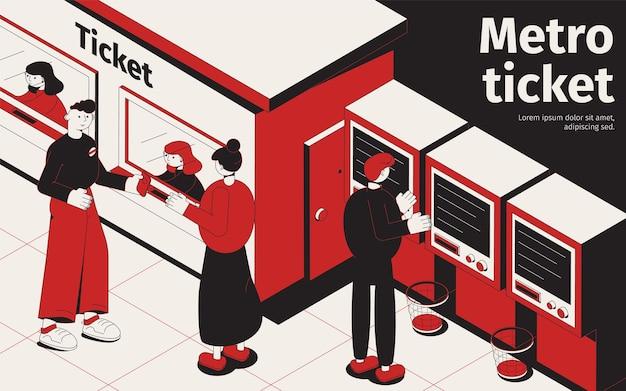 Unterirdisches isometrisches poster mit fahrgästen, die tickets am fahrkartenschalter und u-bahn-verkaufsautomaten kaufen