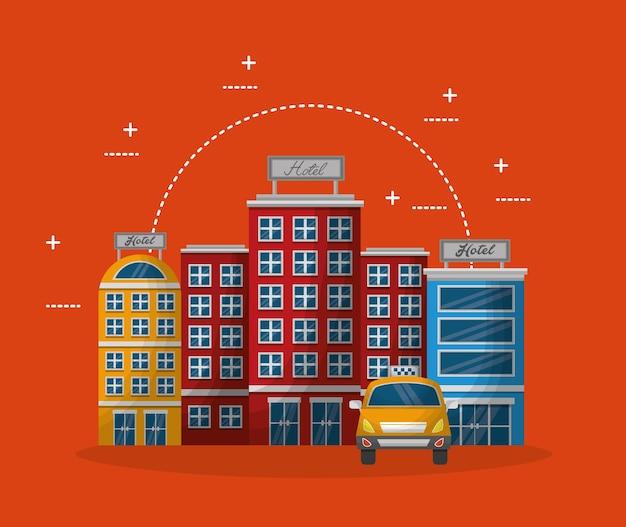 Unterkunft, die luxushotel-taxivektorillustration aufbaut