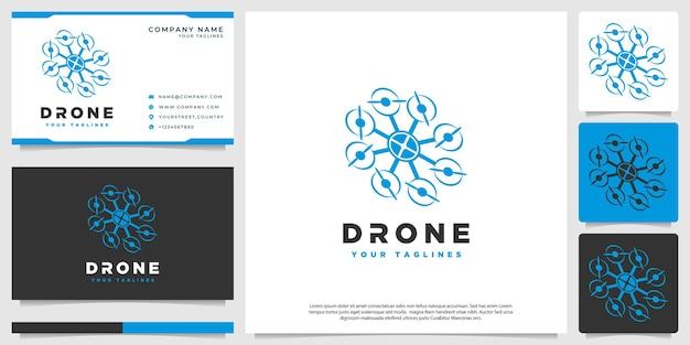 Unternehmen für drohnenform-logo-vektortechnologie Premium Vektoren
