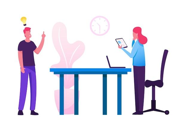Unternehmen teamwork brainstorming zusammenarbeit in office. karikatur flache illustration