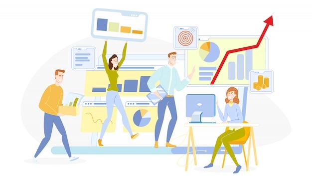 Unternehmen teamwork zusammenarbeit von menschen im büro