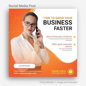 Unternehmen wachsen social media post advertising template design