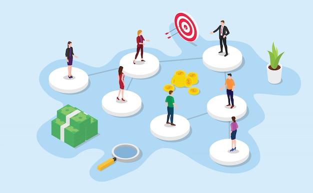 Unternehmens- oder organisationsstruktur mit isometrischem oder isometrischem stil