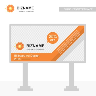 Unternehmensanschlagtafel-designvektor mit blumenlogo