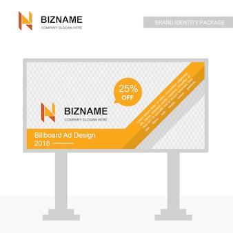 Unternehmensanschlagtafel-designvektor mit n-logo