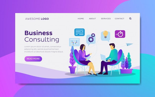 Unternehmensberatung landing-page-vorlage