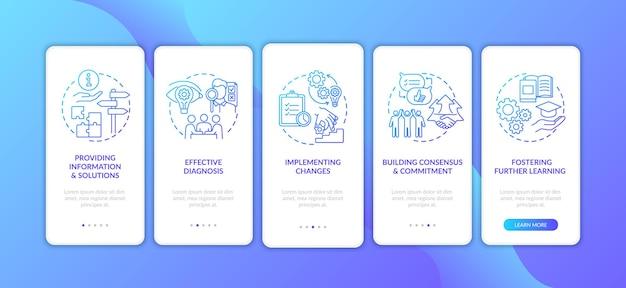 Unternehmensberatung onboarding mobile app seitenbildschirm mit konzepten