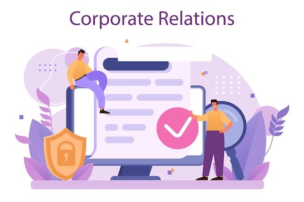 Unternehmensbeziehungen. unternehmensethik. flache vektorillustration