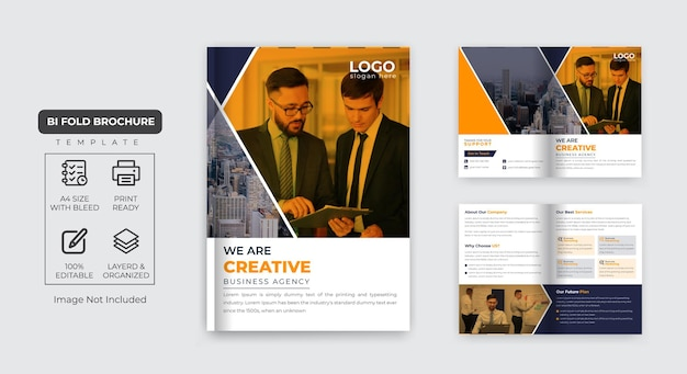 Unternehmensbroschüre 4-seitiges firmenprofil und mehrseitiges business-broschürendesign premium-vektor