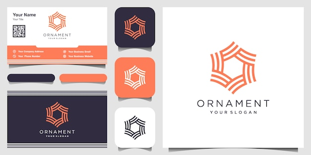 Unternehmenselement. sechseckige symbole der abstrakten verzierung. visitenkarte