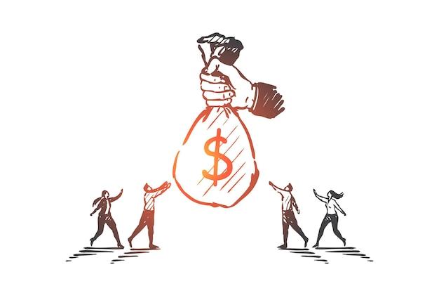 Unternehmensfinanzierung, sponsoring, illustration des investitionskonzepts