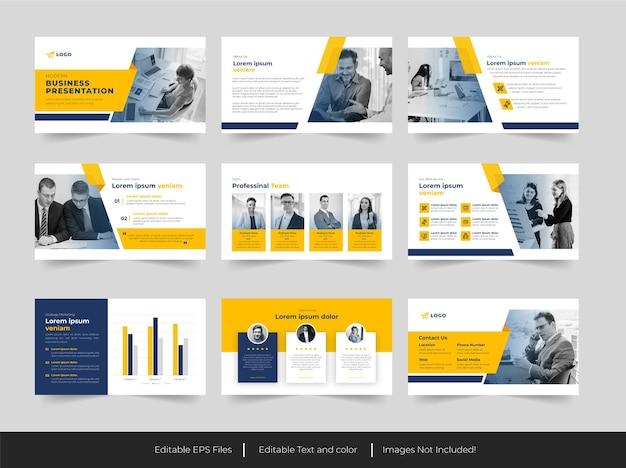 Unternehmensfolienpräsentation oder geschäftspräsentationsvorlage