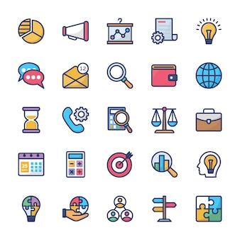 Unternehmensführung und teamwork flache icons