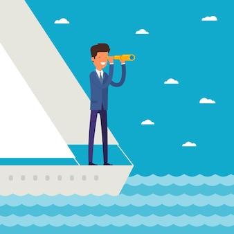 Unternehmensführung und zielkonzept. geschäftsmann steht in der yacht und schaut durch ein fernglas in die zukunft im ozean. flaches design, vektorillustration.