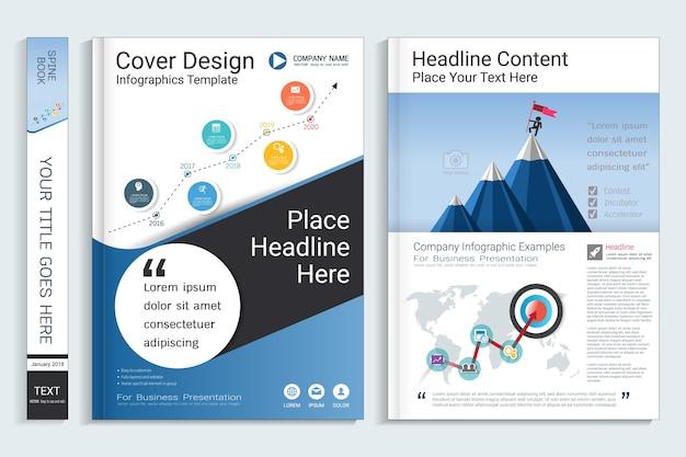 Unternehmensgeschäftsbuch-schablone mit infographic element
