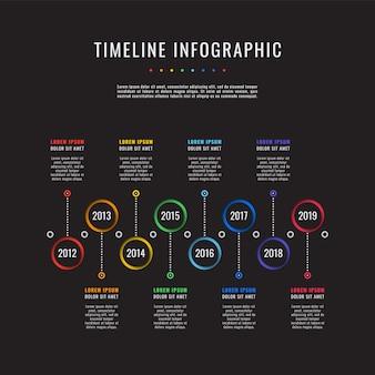 Unternehmensgeschichte timeline auf schwarz.