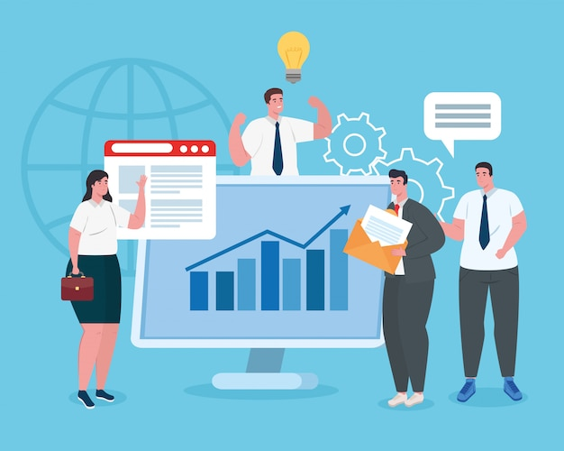 Unternehmensgründungskonzept, banner, startprozess für geschäftsobjekte, geschäftsleute mit computer und grafik
