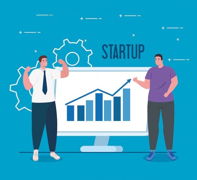 Unternehmensgründungskonzept, banner, startprozess für geschäftsobjekte, geschäftsleute und computer mit grafik