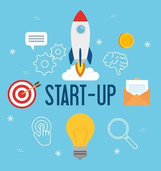 Unternehmensgründungskonzept, banner, startprozess für geschäftsobjekte, raketen- und unternehmensikonen