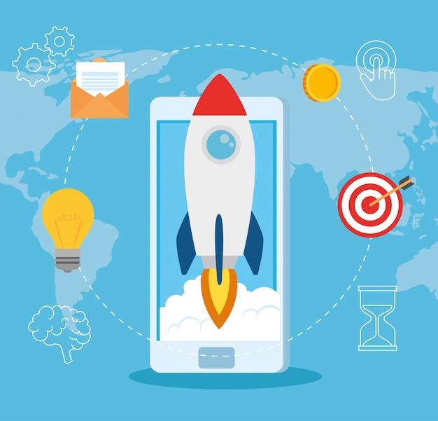 Unternehmensgründungskonzept, banner, startvorgang für geschäftsobjekte, rakete mit smartphone und unternehmensikonen