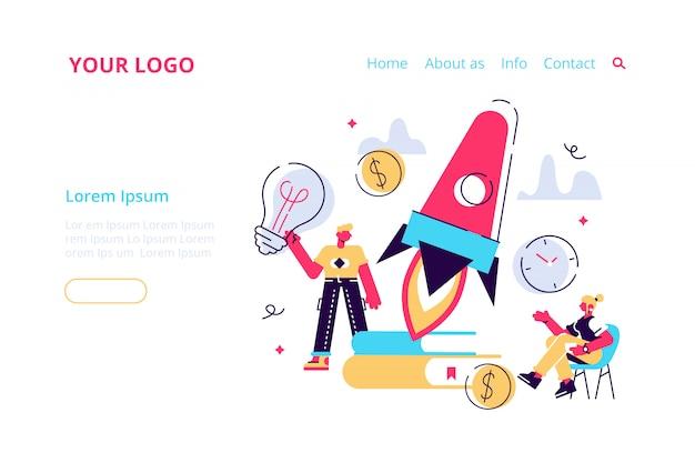 Unternehmensgründungskonzept für webseite, banner, präsentation, soziale medien. illustration, startprozess des geschäftsprojekts, idee durch planung und strategie, zeitmanagement, realisierung