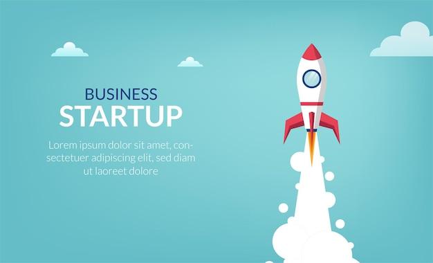 Unternehmensgründungskonzept mit space-shuttle-symbolillustration.