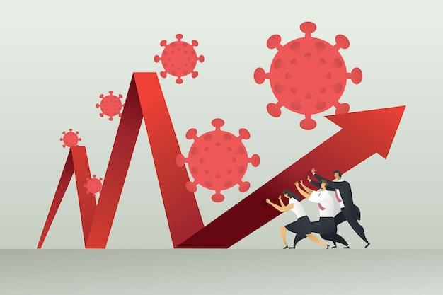 Unternehmensgruppe gegen die krise des covid19-coronavirus