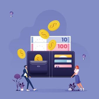 Unternehmensgruppe mit fallenden goldmünzen und wallet-business-einkommenskonzept