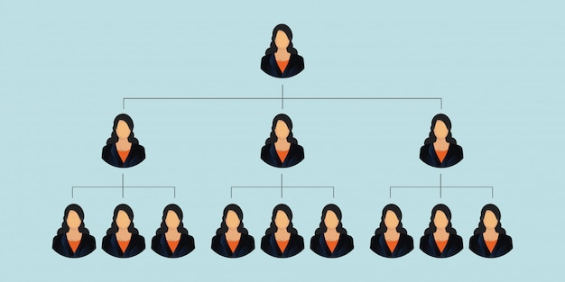 Unternehmenshierarchie der gesellschaft isoliert auf blauem hintergrund.