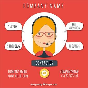 Unternehmenshintergrund mit callcenter mädchen