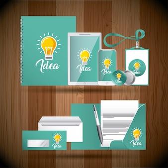 Unternehmensidentitä5sgeschäftsbriefpapierschablonen-ideenkreativitäts-birnengrün