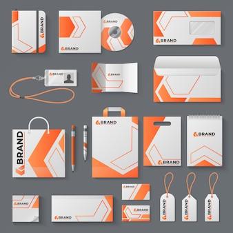 Unternehmensidentität . büromaterial branding visitenkarte brief umschlag becher marke broschüre cover. identität