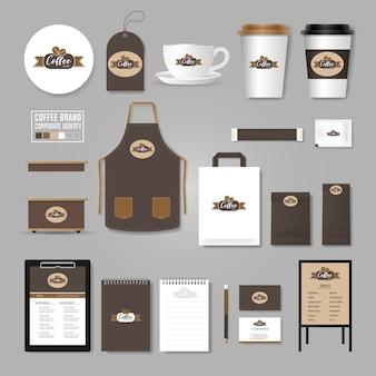 Unternehmensidentität vorlage. logo-konzept für coffee-shop, café, restaurant.