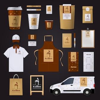 Unternehmensidentitätsdesign des brown- und weißen kaffees stellte für das café ein, das auf schwarzem hintergrund lokalisiert wurde
