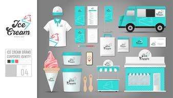 Unternehmensidentität Vorlage für Eisdiele